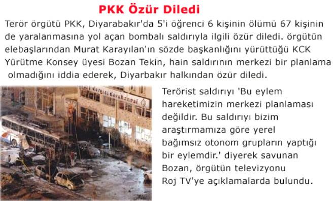 PKK Özür Diledi