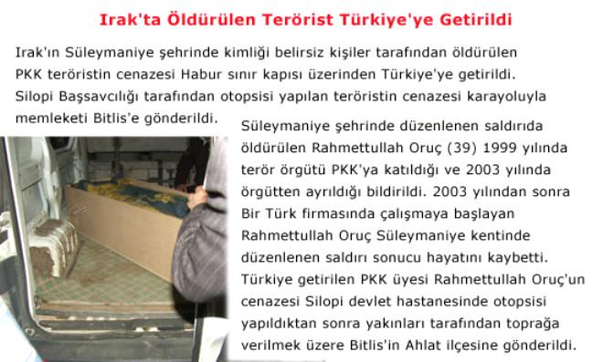 Irak'ta Öldürülen Terörist Türkiye'ye Getirildi
